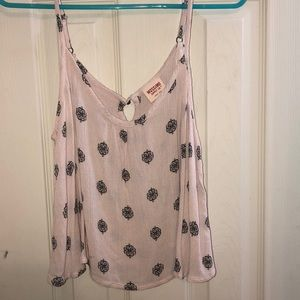 Cream patterned tank top